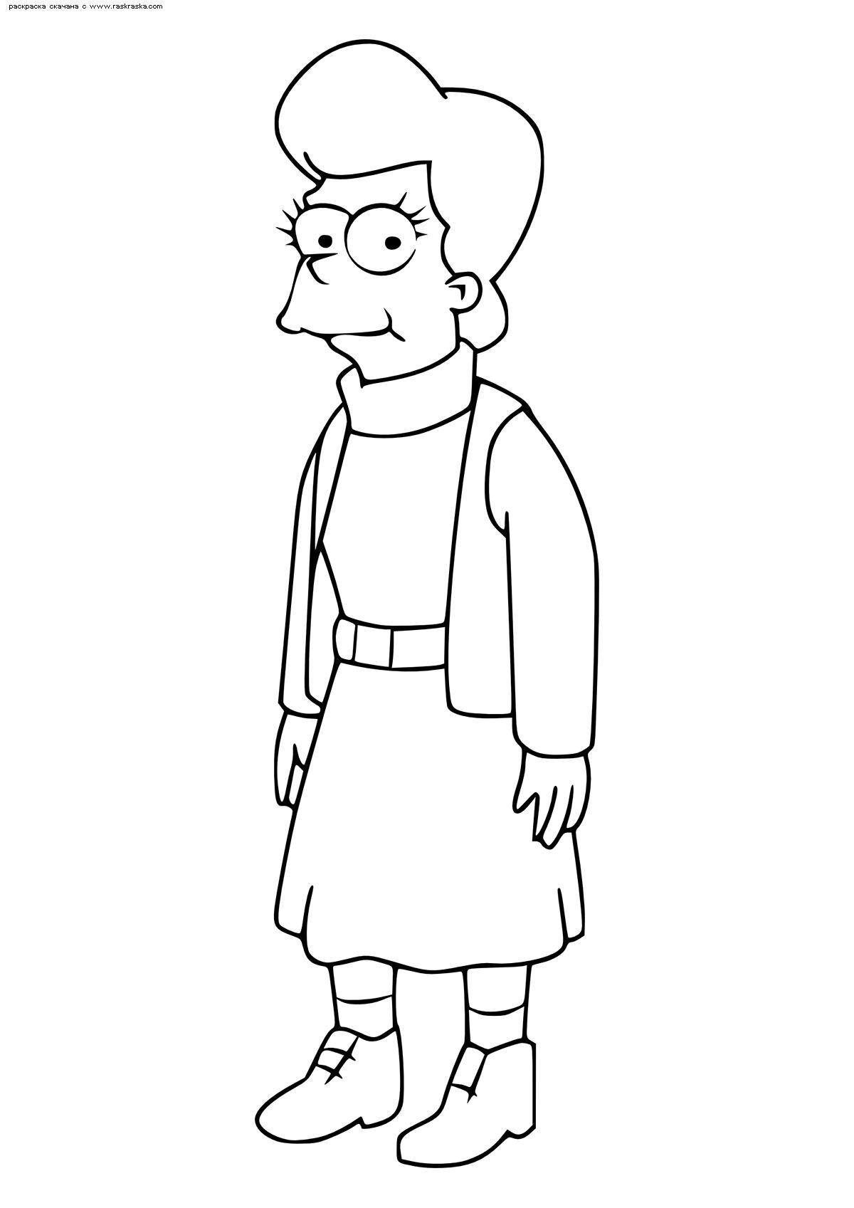 Раскраска Мать Гомера – Мона Симпсон. Раскраска Симпсоны