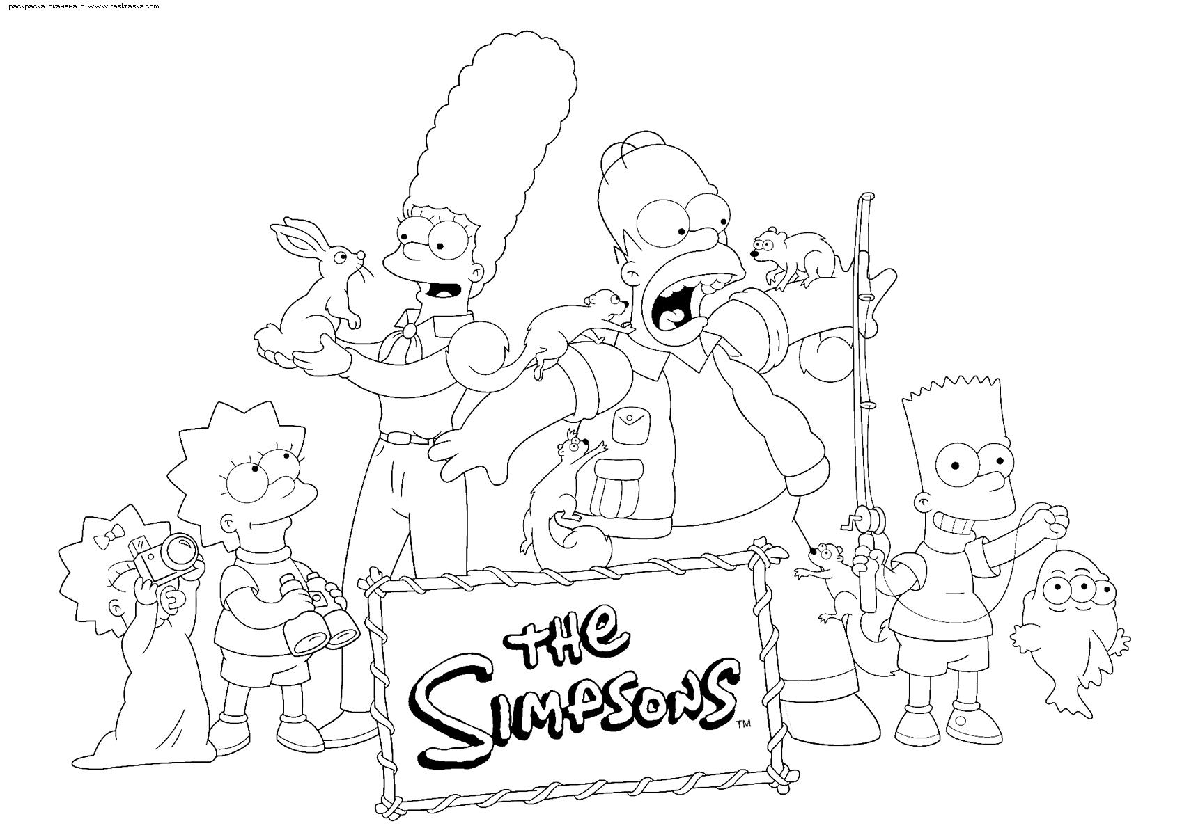 Раскраска Симпсоны. Раскраска Симпсоны, семья