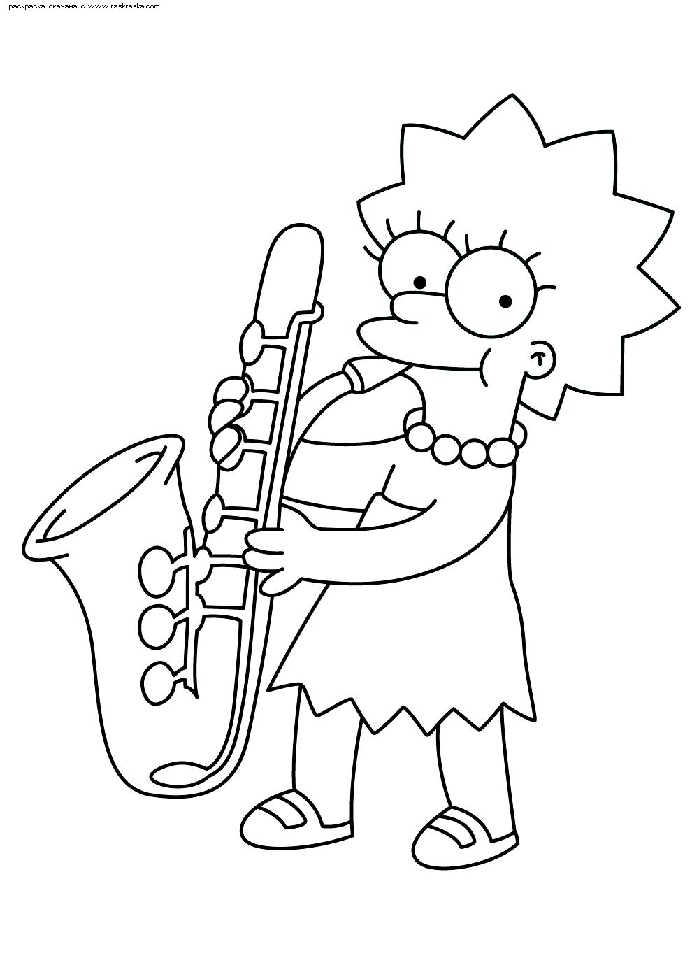 Раскраска Лиза с саксофоном. Раскраска Симпсоны, саксофон