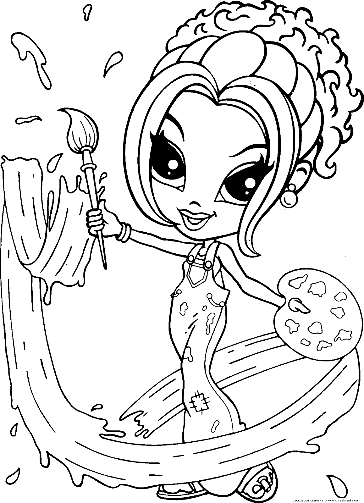Раскраска Гламурная девочка. Раскраска для девочек. Разукрашка для девочек