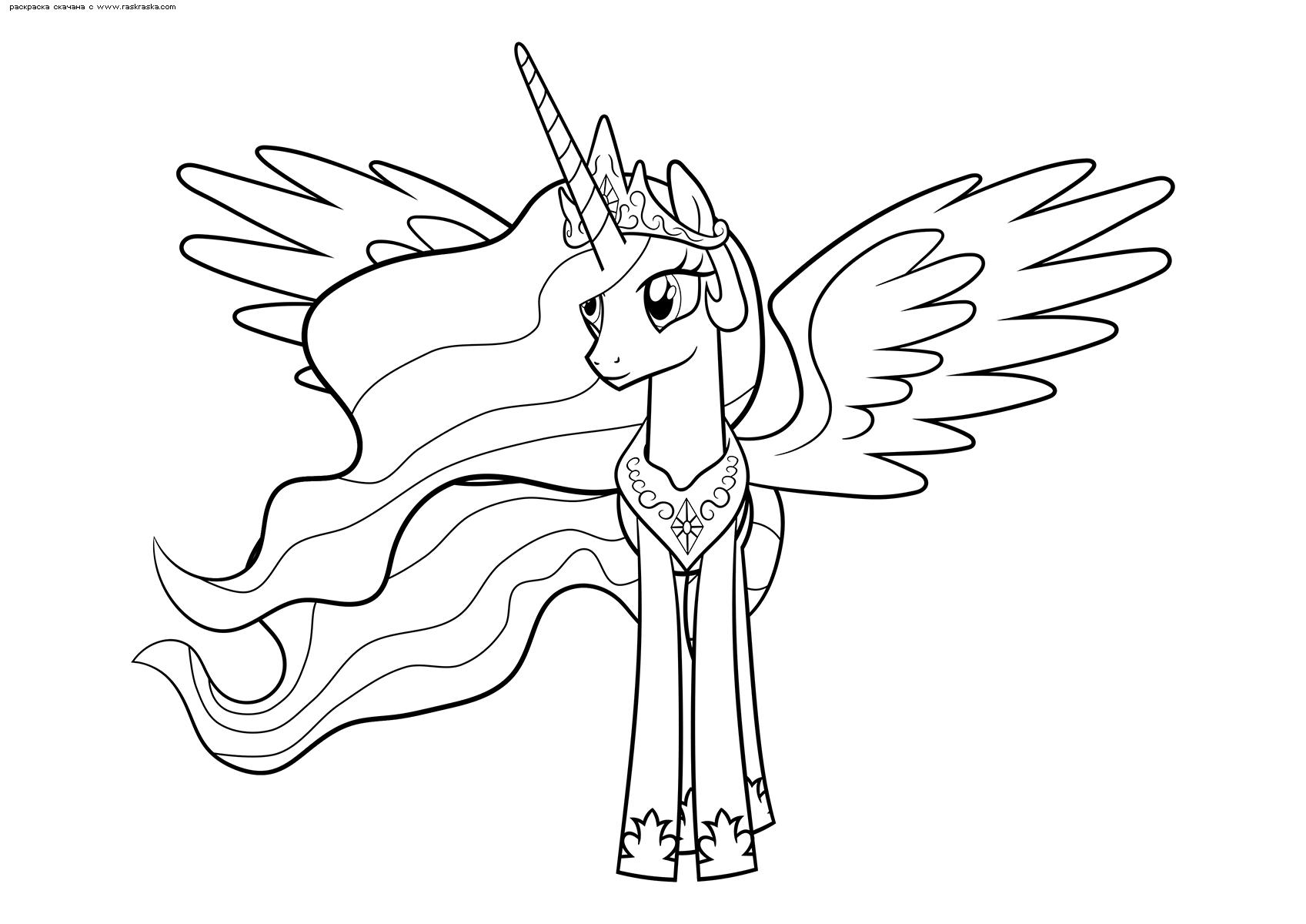 Раскраска Принцесса Селестия. Раскраска Пони