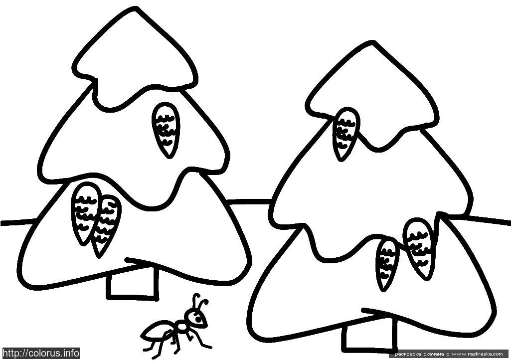 Раскраска Ёлки. Раскраска Раскраска для малышей елка, лес, муравей