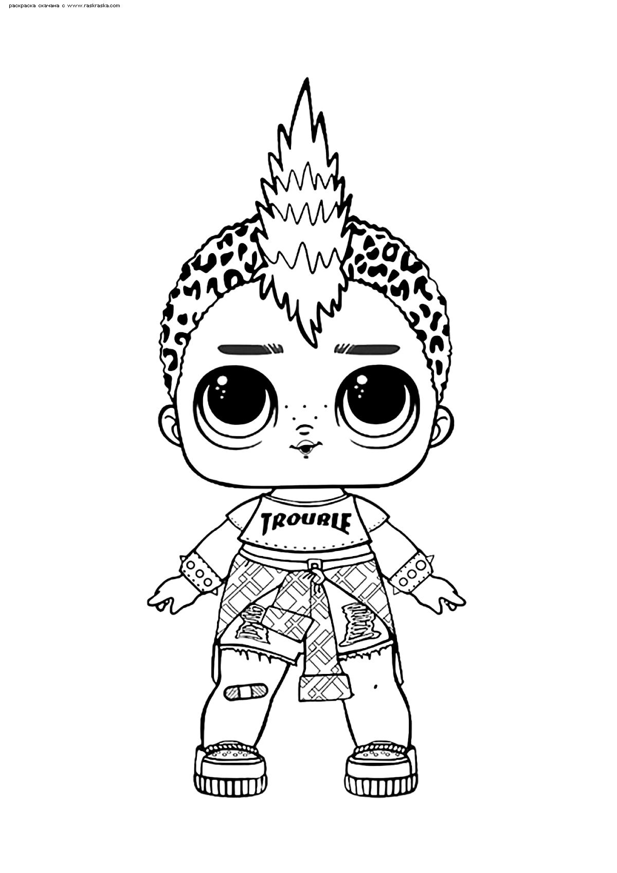 Раскраска Лол конфетти поп Панк Бой | Раскраски для девочек