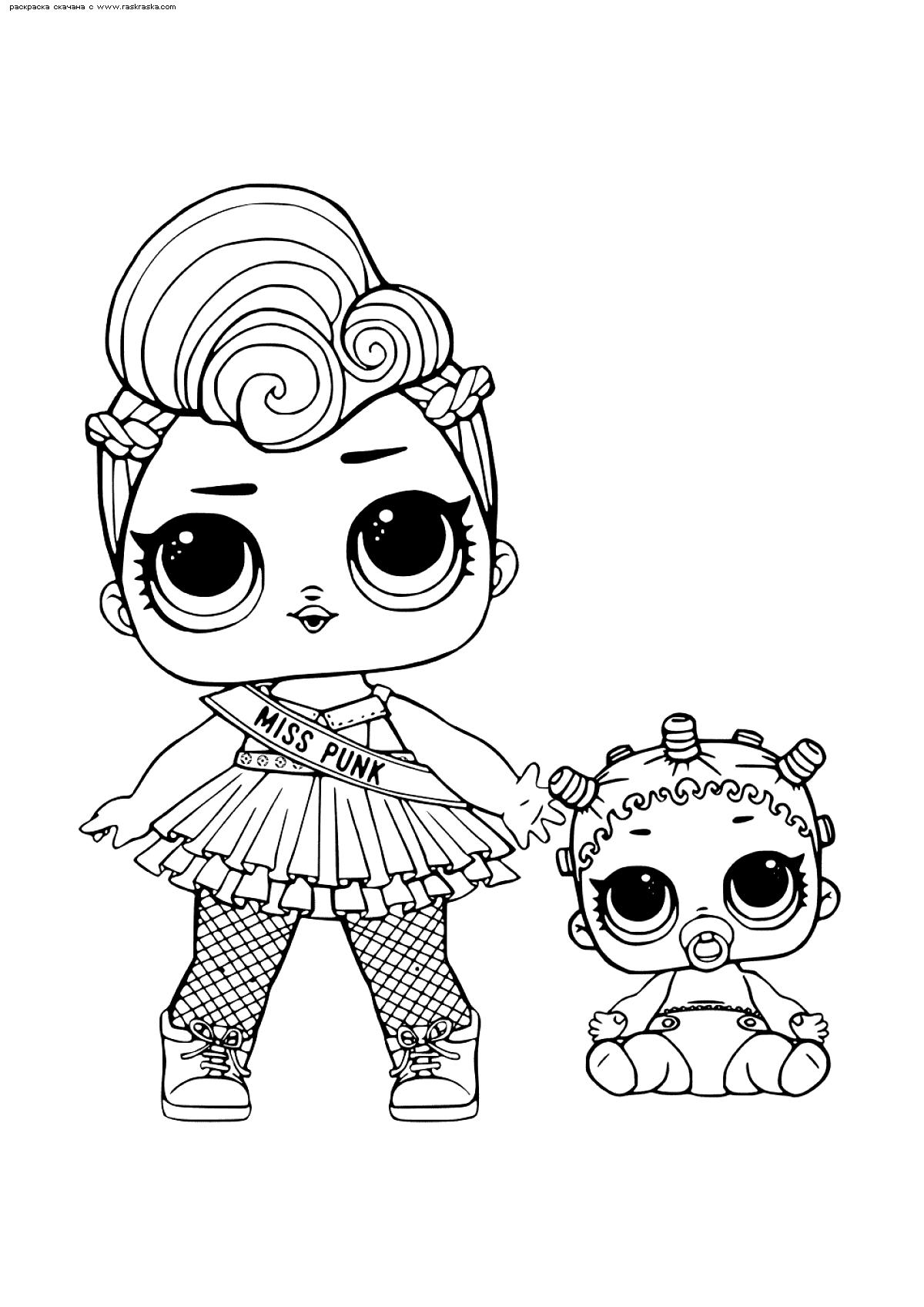Раскраска ЛОЛ Мисс Панк с малышкой. Раскраска лол