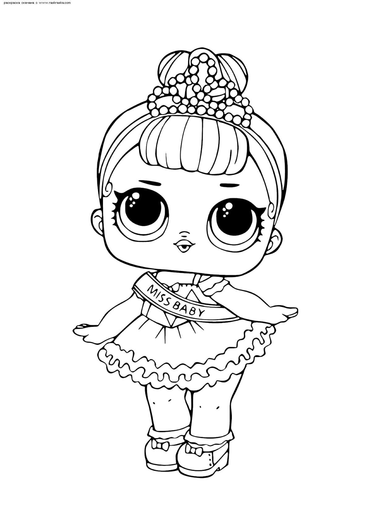 Раскраска ЛОЛ Miss Baby (Мисс Бэби) серия 1. Раскраска лол