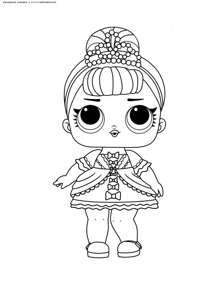 Раскраска ЛОЛ серия 1 куколка Fancy. Раскраска лол