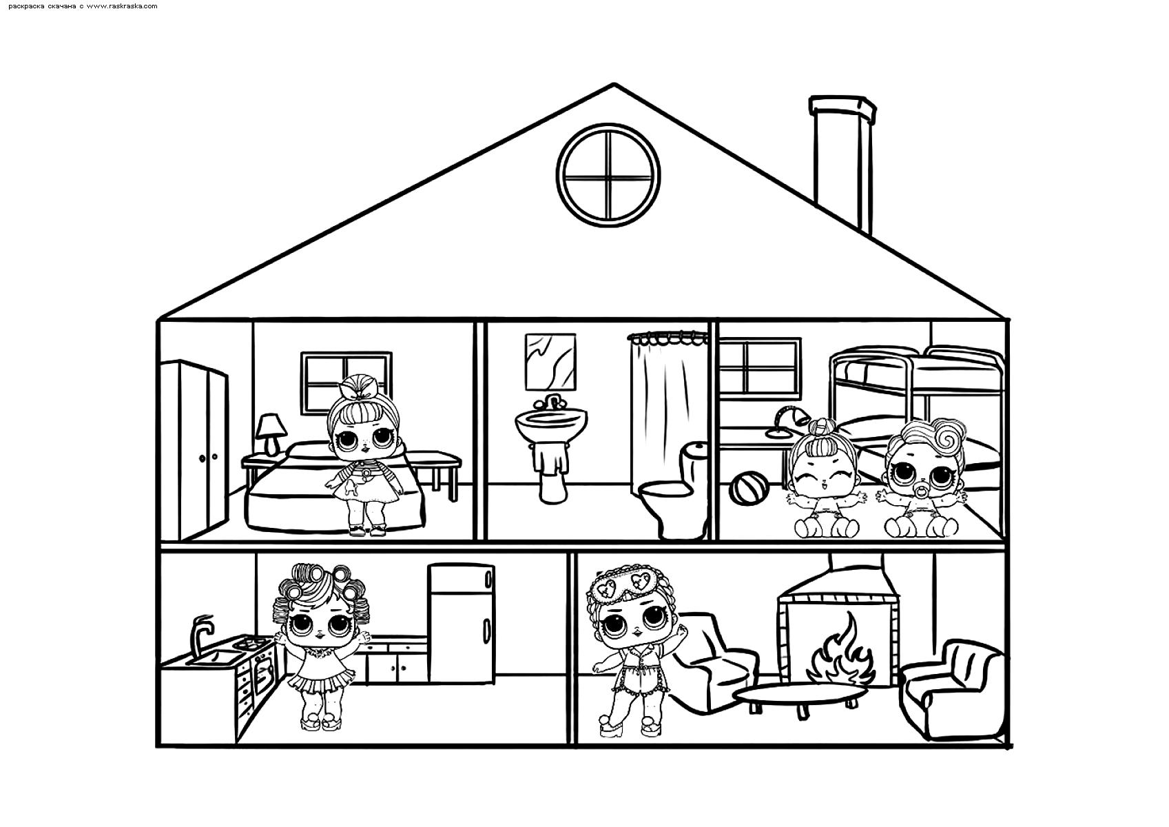 Раскраска ЛОЛ Кукольный домик | Раскраски ЛОЛ. Раскраски ...
