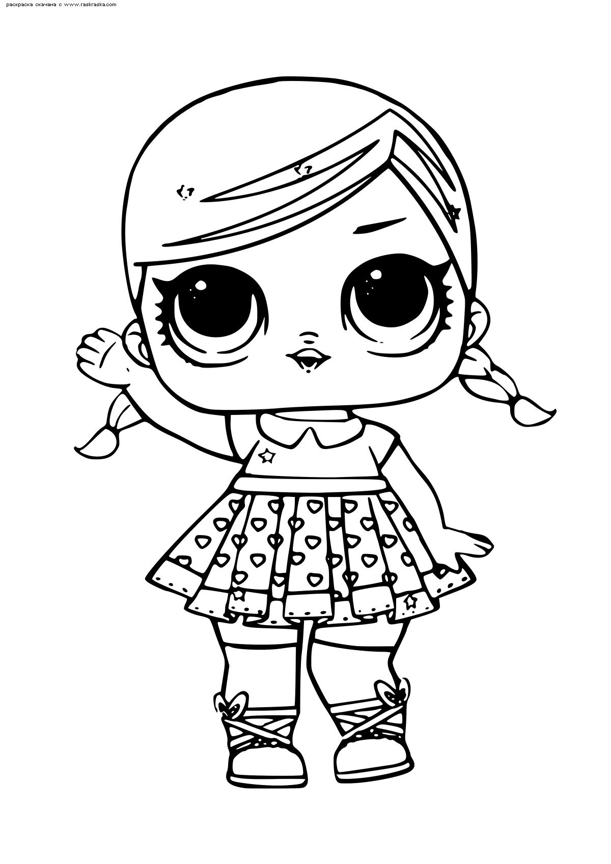 Раскраска ЛОЛ Super BB Glitter (Суперкуколка) серия блестящие . Раскраска лол