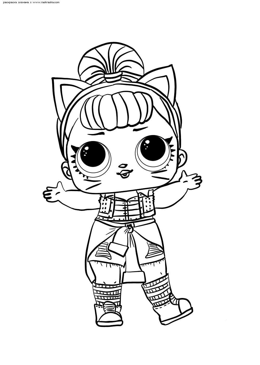 Раскраска ЛОЛ серия 2 куколка Troublemaker. Раскраска лол
