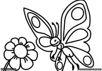 Бабочка и цветок - скачать и распечатать раскраску. Раскраска Раскраски для малышей, простые раскраски для маленьких детей, бабочка, цветок