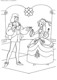 Принц и Золушка - скачать и распечатать раскраску. Раскраска Раскраски Золушка, раскраски из отечественных мультфильмов скачать распечатать