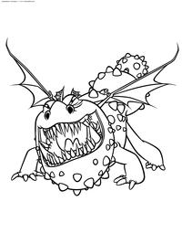 Дракон Громмель - скачать и распечатать раскраску. Раскраска Как приручить дракона, раскраска для детей скачать бесплатно