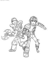 Иккинг и Астрид - скачать и распечатать раскраску. Раскраска Викинги