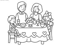 Семейный обед - скачать и распечатать раскраску. Раскраска семья, праздник, стол