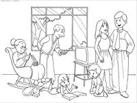 Семья - скачать и распечатать раскраску. Раскраска семья, телевизор, бабашка, дедушка, мама, папа, дети