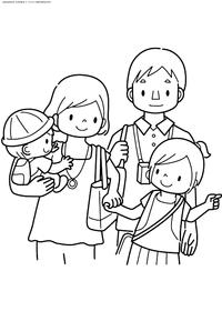 Дружная семья - скачать и распечатать раскраску. Раскраска семья, родители, дети