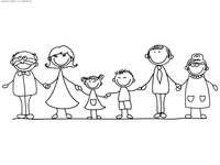 Семья - скачать и распечатать раскраску. Раскраска семья