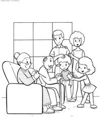Большая семья - скачать и распечатать раскраску. Раскраска семья, бабушка, дедушка