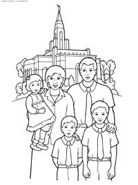 Семья 5 человек - скачать и распечатать раскраску. Раскраска семья