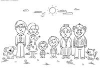 Семья 6 человек - скачать и распечатать раскраску. Раскраска семья, бабушка, дедушка, мама, папа, дети
