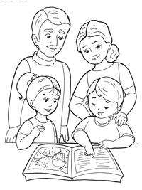 Семья - скачать и распечатать раскраску. Раскраска семья, книга, дети
