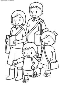 Семья 4 человека - скачать и распечатать раскраску. Раскраска семья