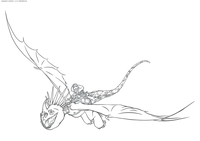 Астрид и Громгильда - скачать и распечатать раскраску. Раскраска Астрид летит на драконе, драконий всадник