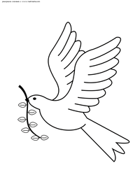 Голубь – символ мира - скачать и распечатать раскраску. Раскраска голубь