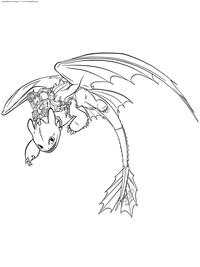 Иккинг и Беззубик - скачать и распечатать раскраску. Раскраска Иккинг летит на ночной фурии, драконий всадник
