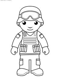 Солдат - скачать и распечатать раскраску. Раскраска солдат