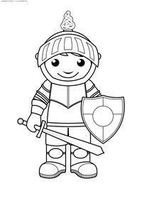 Рыцарь - скачать и распечатать раскраску. Раскраска рыцарь