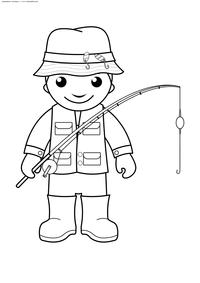 Рыбак - скачать и распечатать раскраску. Раскраска рыбак