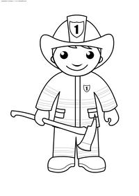 Пожарный - скачать и распечатать раскраску. Раскраска пожарный