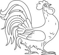 Петух - скачать и распечатать раскраску. Раскраска Раскраска петух, разукрашка для детей петушок, раскраска детская петух, раскраска домашней птицы петуха