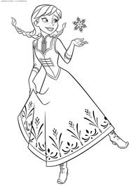 Анна играет со снежинкой - скачать и распечатать раскраску. Раскраска принцесса