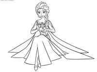 Эльза со снежинкой - скачать и распечатать раскраску. Раскраска принцесса, эльза