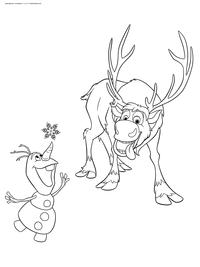 Олаф и Свен - скачать и распечатать раскраску. Раскраска снеговик, олень