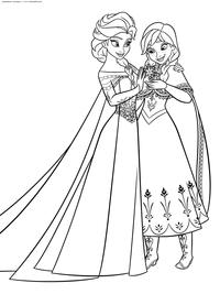 Эльза и Анна - скачать и распечатать раскраску. Раскраска эльза, анна
