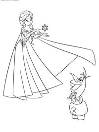 Олаф восхищается Эльзой - скачать и распечатать раскраску. Раскраска эльза, снеговик