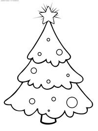 Нарядная новогодняя елка - скачать и распечатать раскраску. Раскраска елка