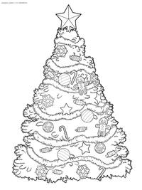 Красивая новогодняя елка - скачать и распечатать раскраску. Раскраска елка