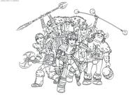 Иккинг и его друзья - скачать и распечатать раскраску. Раскраска Викинги, команда, драконьи всадники, Астрид, Иккинг, Забияка, Задирака, Сморкало, Рыбьеног