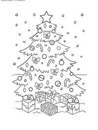 Новогодняя елка с подарками - скачать и распечатать раскраску. Раскраска елка, подарки, новый год
