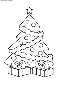 Новогодняя елка - скачать и распечатать раскраску. Раскраска елка
