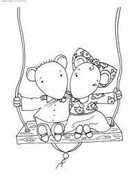 Мышки на качелях - скачать и распечатать раскраску. Раскраска мышка, мышь, крыса