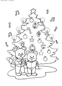 Мышки у елка - скачать и распечатать раскраску. Раскраска елка, мышь, мыши
