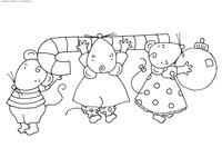 Мышки несут карамельную палочку - скачать и распечатать раскраску. Раскраска мышь, крыса