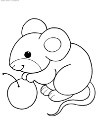Мышка с яблоком - скачать и распечатать раскраску. Раскраска мышь, крыса