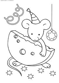 Новогодняя мышка - скачать и распечатать раскраску. Раскраска мышь, крыса