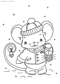 Новогодний мышонок - скачать и распечатать раскраску. Раскраска мышь, крыса